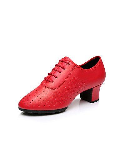 La mode moderne Non Sandales femmes personnalisables Chaussures de danse latine similicuir similicuir talons bas HeelBeginner/Professionnel/Piscine/Performance / Black