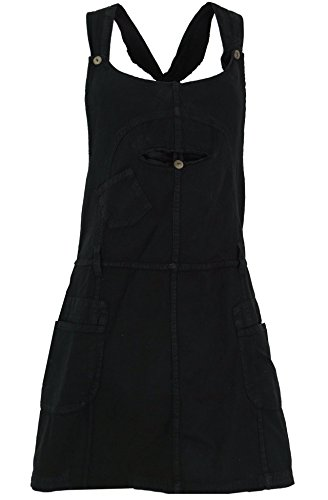 Guru-Shop Latzrock, Trägerkleid, Hippierock, Damen, Schwarz, Baumwolle, Size:L (40), Kurze Röcke Alternative Bekleidung