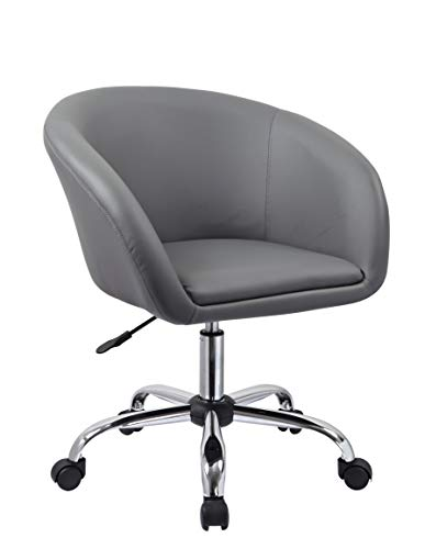Duhome Elegant Lifestyle Schicker Rollhocker Grau Bürostuhl Kunstleder Kosmetikhocker Drehstuhl Höhenverstellung Drehbar Farbauswahl - Typ 440F
