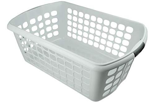 HRB Wäschekorb 59,5 x 39 x 23 cm, 44L Wäschewanne Wäsche Box (Weiß)