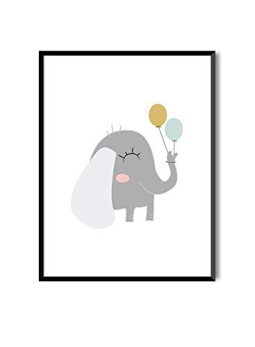 MILUKA Láminas Infantiles para enmarcar colección Sweet Pets | Elefante | Tamaño...
