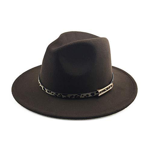 VAXT Ingenieur Männer Frauen Fedora Leopard Ledergürtel Fedora Hut Wolle Gemischten Hut Im Freien Täglichen Hut Top Jazz Hut Panama Hut (Farbe : Kaffee, Größe : 56-58cm)