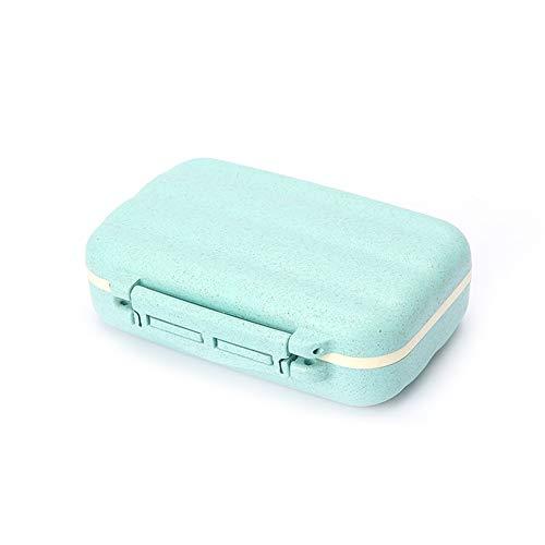 Leisial 7 Tage 8 Fach Pillendose Tablettendose Doppelschicht Pillenbox Kreativer Klein Medikamentendose für Reise und täglichen Gebrauch,Blau