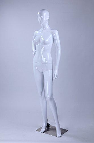TonHan LF3-B schöne stehende weibliche abstrakte weiß glänzend lackierte Schaufensterpuppe Schaufensterfigur Nase Mund Ohren Modern Feminin Neu (Stehend, LF3-B)