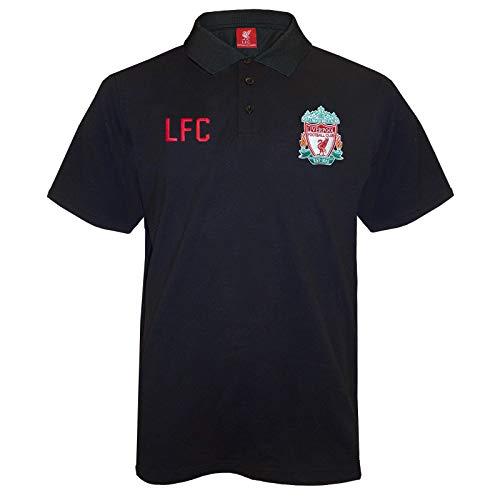 FC Liverpool Herren Polo-Shirt mit originalem Fußball-Wappen - Schwarz - L -