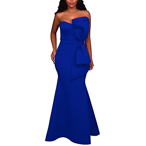 Abend Für Kleider Sex Sexy (LRUD Damen Ein Schulter kleider Elegant Abschlussball Maxikleid Lange Abendkleid Party Kleider Rot/Navy Blau (S, Blau))
