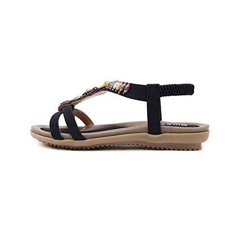 Damen Sommer Bohemia Schuhe Strass Flach Flip-Flop Mädchen Bequeme Strand Zehentrenner Sandalen Schwarz-4