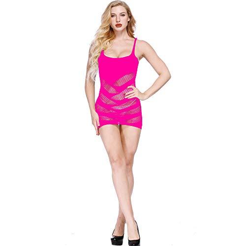 Strung Freiheit Sexy Dessous Mesh Hohl Baby Doll Kleid Erotische Frauen Unterwäsche Nachtwäsche Spitzenkleid G-String Set Fashion Rosa Kleid Set