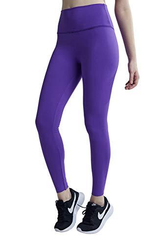 Baumwolle Damen Tasche (Wirezoll Sport Leggings Damen, High Waist Blickdichte Yogahose mit Tasche aus Baumwolle für Yoga, Gym, Laufen, Lila, XL)