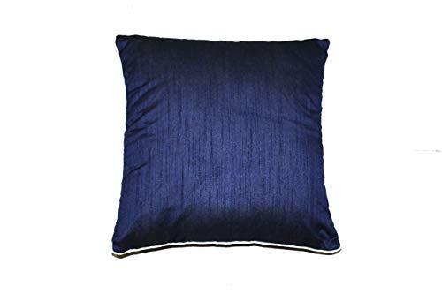 rajwada-fashion Designer dunkelblau Akzent Kissen, einfache Muster, Perlenkissenbezug, 40,6 x 40,6 cm, quadratischer Kissenbezug aus Seide, Designer Home Decor Kissenbezüge, 2 Stück -