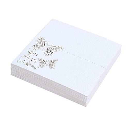 Gaoominy 60x Schmetterling Blume Platz Tisch Nummern G?steliege Namens Karten FüR Hochzeit Party Dekoration (Wei?)