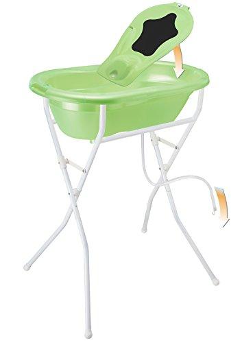 Rotho Babydesign Badelösung TOP / Babybadewanne mit Ständer 98 cm hoch, einklappbar / Baby Badeset inkl. Wanneneinlage, Ablaufschlauch und Thermometer / lindgrün perl
