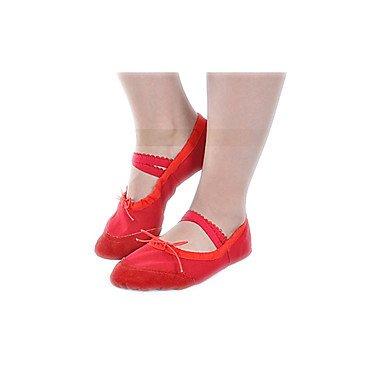 Calma Rosa Dividir De Vermelho Ballet Com Única Preto Branco Plana Ballet Dança Sapato Sapatos Lona Crianças Em Calcanhar Menina HSndqwRH