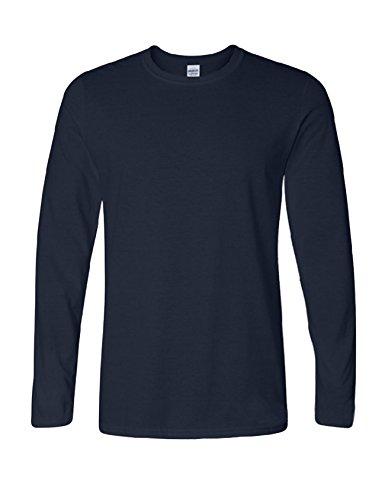 Bestgift Herren Langarm T-Shirt Baumwolle Tee Solide Farbe Basic Shirt Tops Dunkel Blau