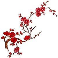 Sixlus Flor de Ciruelo Apliques de Flores Ropa Flores Hierro en Parches Flores Hierro en Parches