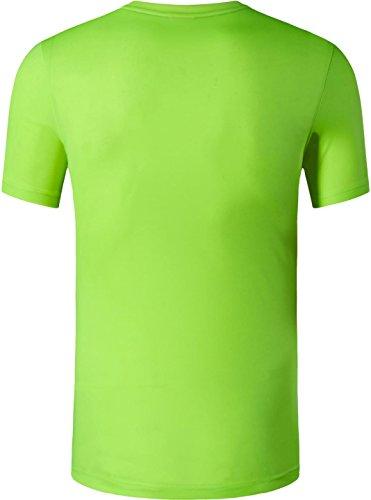Jeansian Uomo Asciugatura Rapida Sportivo Casuale Slim Sports Fashion Tee T-Shirts Camicie LSL020 LSL145_GreenYellow