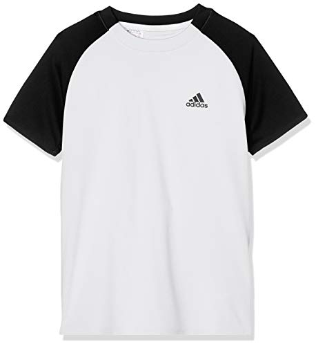 adidas Jungen Club T-Shirt, White/Black, 140 - Pique-tennis-shirt