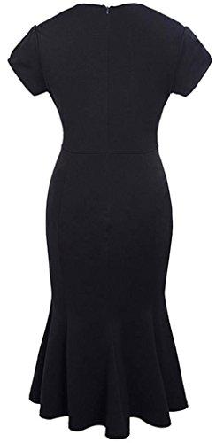 Jeansian Femme Mode Cocktail Fashion Retro Robes Women Party Dresses Fishtail Slim Office Lady Dress WHS355 Black