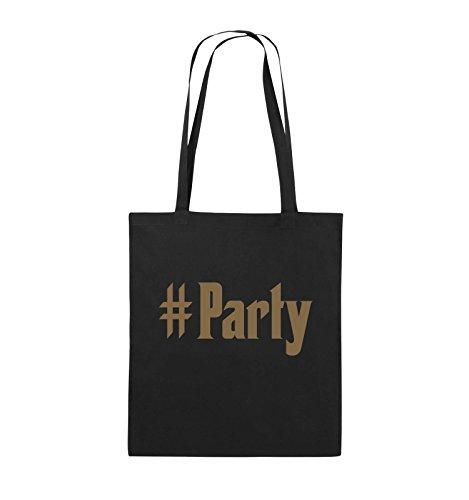 Comedy Bags - #Party - Jutebeutel - lange Henkel - 38x42cm - Farbe: Schwarz / Silber Schwarz / Hellbraun
