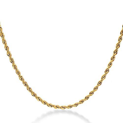 Liquidazione offerte, Fittingran Liquidazione Offerte Hip Hop Collana con Ciondolo Uomo Donna Moda Luxury Filled Curb Collana con Ciondolo Cubano in Oro (D)