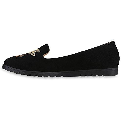 Damen Slipper Loafers Schleifen Glitzer Flats Profilsohle Schuhe Schwarz Stickmuster