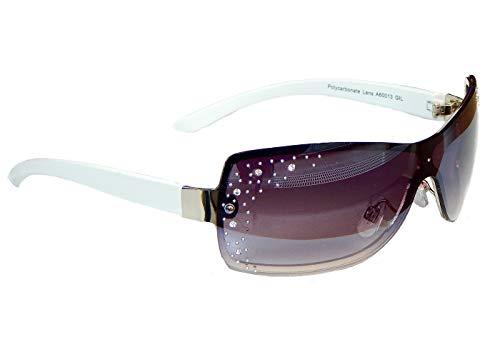 Sonnenbrille Damenbrille mit Strasssteinen Brille Monoglas Sportlicher Style Damen M 33 (Weiß Silber.)