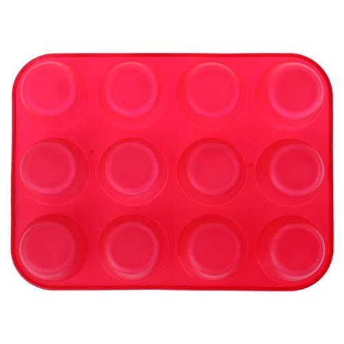 CADANIA 12 Coppette per Muffin per cavità Stampo per Silicone Cupcake per Cioccolato Biscottiera per teglie Stampo per Dolci da Cucina Microonde Rosso Sicuro