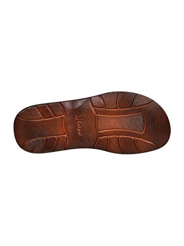 Pour Homme Reel Cuir De Bison En Forme Orthopedique Chaussures Sandales Modele 835 Brun