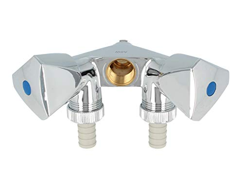 tecuro -22271- Doppel-Geräteventil mit 2 Abgängen - 1/2 Zoll Wandanschluss - messing glanzverchromt