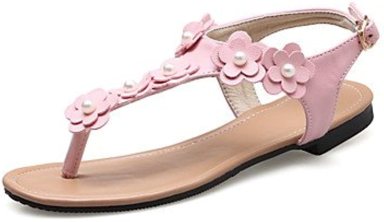YFF Donna Sandali Slingback PU tacco piatto piatto piatto fiore,Arrossendo rosa,US6 | I Clienti Prima  244959