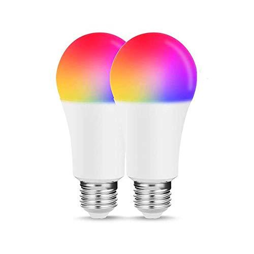 TINS LED Glühbirne,Wifi Smart Birne,Smart LED Lampe,E27 5W RGB Mehrfarbige LED Dimmbare Lampe,Per Fernbedienung dimmbar Warmweiß+Kühles Weiß,Kann nicht von IOS & Android Wifi Verbindung,2er Pack - 2er Pack Glühbirne A19