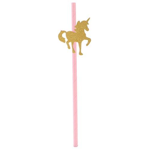 Gazechimp-Lot-25pcs-Pailles-Licorne-en-Papier-Fourniture-pour-Fte-Enfant-Rose-Or