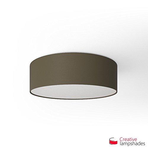 Runde Deckenleuchte mit Aschegrau Leinwand Bezug - Durchmesser 50cm - H. 15cm, 4xE27 Für Pendel - Asche-möbel