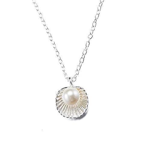 Mode Pearl Anhänger Halskette für Damen, Handmade mit Gummi Weiß Pearl Legierung Shells Elegante Schmuck - Mit Gift (Halskette Weiß Shell Halskette)