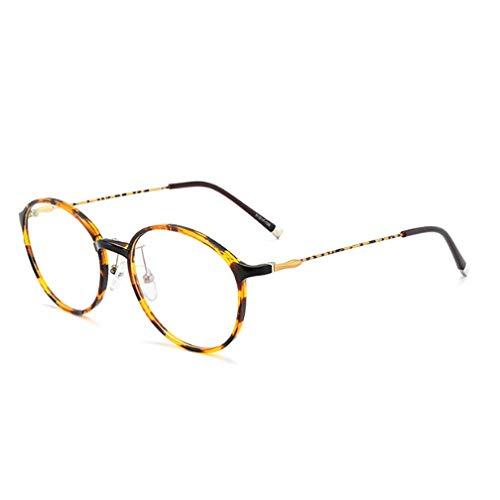 JRP Lesebrille,Ultraleicht Runder Rahmen Anti-Blaulicht Anti-Uv Alter Mann Brille Mode Hd Harz Müdigkeitsprävention Brille Unisex Exquisit/Kaffee / +3.5