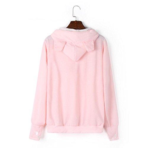 Bonjouree Sweats à Poche de Transport de Petits Animaux Porte-Chien Porte-Chat Sweatshirt Capuche Femme Rose