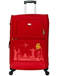 Timus Salsa Red 75 CM 4 Wheel Strolley Suitcase For Travel (Large Check In Luggage)
