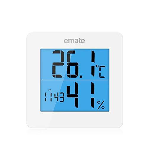 Florlife Hygrometer Luftfeuchtigkeitsmesser, Digitaler Reisewecker, Innen-Thermometer und Luftfeuchtigkeitsmesser mit Hintergrundbeleuchtung weiß