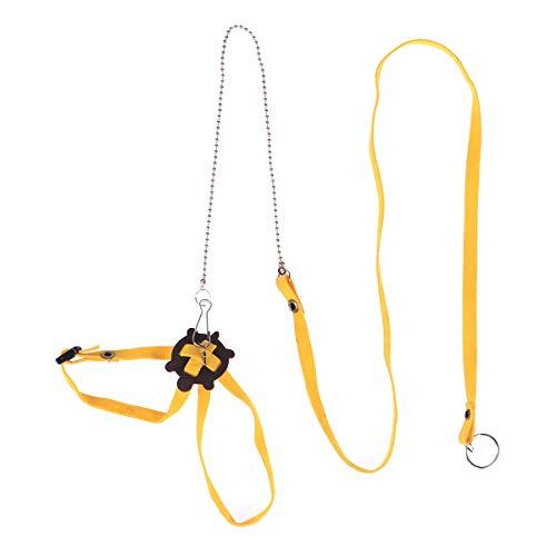 POPETPOP Haustier Harness Reptil Leine Schildkröte Eidechse Einstellbare Outdoor Training Soft Strap (Gelb) -