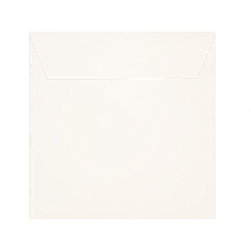 25 quadratische Briefumschläge - Elfenbein Creme-Weiß - 120 g/m² - 185 x 185 mm 18,5 x 18,5 cm Haftstreifen