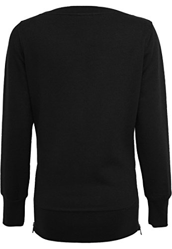 TB784 Ladies Side Zip Long Crewneck Damen Pullover Sweatshirt Black