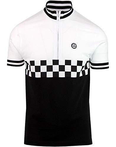 Ska & Soul Mens Zip Neck Checker Biker Cotton T-Shirt