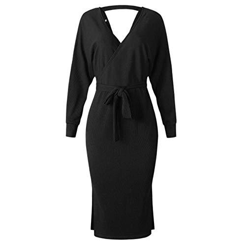 LALY A SHOP Automne Hiver Solide Sexy Sexy V Cou à Manches Longues Femmes Slim Robe Dentelle Up Long Dress Robe de soirée en Tricot DOS à la Mode, 101245-Black, L -