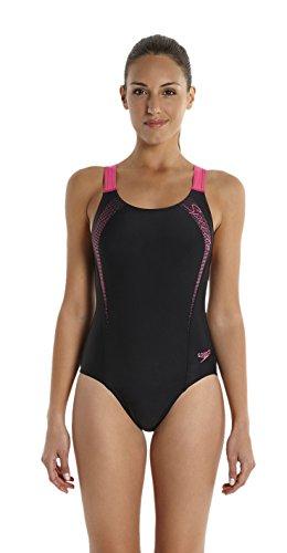 Speedo Damen Badeanzug Sports Logo Medalist,  Schwarz (Black/Vegas Pink), 32,  8-09689A59332 -