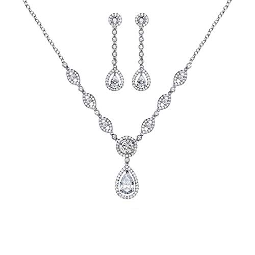 GULICX Hochzeitsschmucksets Silber-Ton Weiß Strass Zirkonia CZ Ohrringe und Halskette und Anhänger