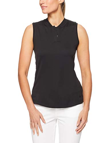 Nike Damen Golf-Poloshirt Ärmelloses, Black/(Black), S, 928723-010