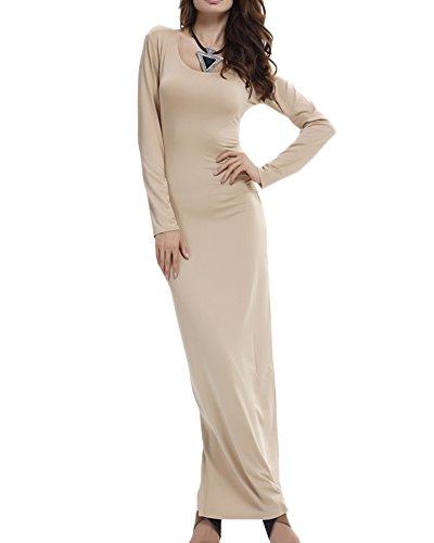 Damen Langarm Etuikleider Basic Longshirt Kleider Loose Stretch Rundhals T-Shirt Einfarbig Maxi Kleid Kaki L