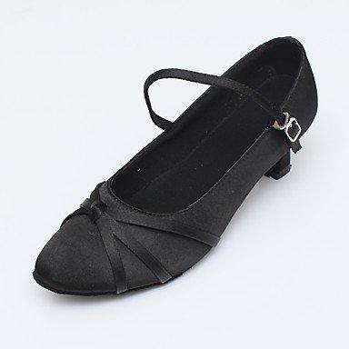 Wuyulunbi@ Donna sintetico Sandalo in raso tacco Sneaker Indoor di giunzione di mandorla di tacco 2 nero US8.5 / EU39 / UK6.5 / CN40