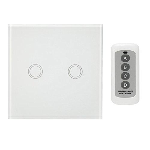 Baoblaze Touchschalter 1 2 3 Gang Wandschalter Lichtschalter Touch Schalter - Weiß, 2 Gang -