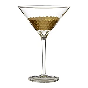 Premier Housewares Astrid Cocktail Glasses, Gold, 14 x 14 x 19 cm, Set of 2